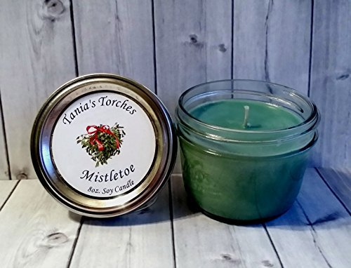Fragrant Soy Candle for Christmas in Mistletoe Hand Poured in 8oz Wide Mouth Mason Jar (Half Pint Wide Mouth Jars compare prices)
