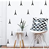 YOYOYU ART HOME DECOR 40 Pieces/Pack Eiffel Tower Pattern Wall Sticker Vinyl Home Decoration Art Decor Sticker Kids Nursery Bedroom Boy room Wall Decor Art Adesivo Decal (BLACK)