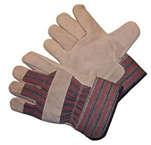 G & F 5015L-5 Regular Cowhide Leather Palm Gloves with rubberized safety cuff Large, 5-Pair pack