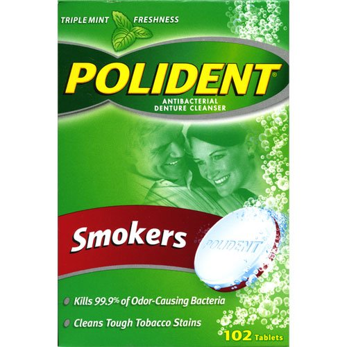 Polident Antibacterial Denture Cleanser, Smokers 102 Tablets [Personal Care]
