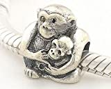 General Gifts 925 Sterling Silver European Style Antique Silver Monkey