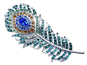 Enchanting Colorful Single Peacock Feather Crystal Rhinestone Custom Pin Brooch