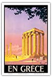 En Grèce (in Greece) - Ancient Temple of Zeus - Athens, Greece - Vintage World Travel Poster by Pierre Commarmond c.1930s - Master Art Print - 12in x 18in