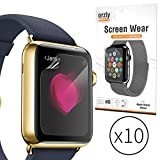 Orzly® Screen Protectors for APPLE WATCH (38mm Version - Smallest Model) - Multi-Pack of 10 Transparent Screen Protectors / 10x 100% Clear Screen Guards designed by ORZLY, compatible for use with ALL 38mm Models of iWatch / AppleWatch (Original BASIC Appl