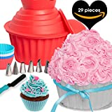 29pcs GIANT CUPCAKE PAN SET - Cake Decorating Supplies Gift Kit Tools Plus Frosting Icing Piping Bags and Tips and 12 Silicone Cups. Large Jumbo Muffin Pastry Baking Accessories By Cakes Of Eden