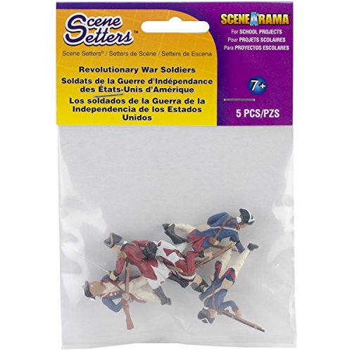 Woodland Scenics SP4454 1.5-Inch Scene Setters Figurine, Revolutionary War Soldiers, 5-Pack - 1