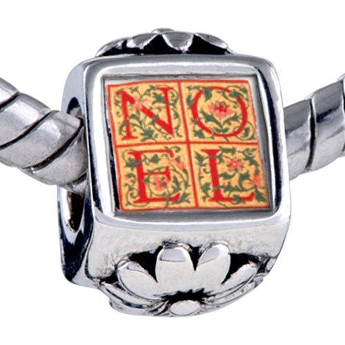 Pugster Bead Noel Quilt Square Beads Fits Pandora Bracelet