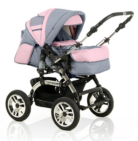 15-teiliges-Qualitts-Kinderwagenset-2-in-1-CITY-DRIVER-Kinderwagen-Buggy-all-inclusive-Paket-in-Farbe-GRAU-ROSA