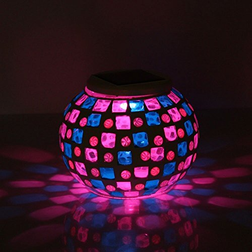Aiernuo Solar Powered Mosaic Glass Ball Garden Lights 7 Colors Changing for Parties Decorations, Christmas, Ideal Gifts--5.12 Inch in Diameter(Mosaic Glass Light-1)