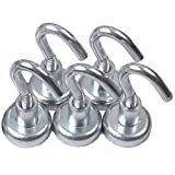 5 Neodymium Hook Magnets - Each Holds up to 12 Pounds