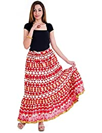 Cute Floral Design Red Long Skirt