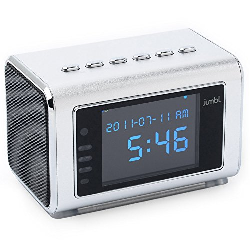 Jumbl? Mini Hidden Spy Camera Radio Clock W/Infrared Night Vision - Built-In Screen, Speaker, Micro Sd Slot & Aux Line In - Standalone Operation W/O Need For Computer For Your Home, Kids & More - Silver