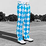 Royal & Awesome 32/32 Men's Loud Old Toms Trews Blue Diamond Pants Golf