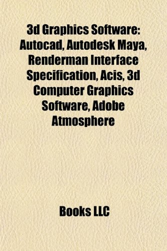 3D graphics software: AutoCAD, Autodesk Maya, RenderMan Interface Specification, Blender, ACIS, MeVisLab, Adobe Atmosphere