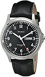 Armitron Men's 20/4996BKSVTN Stainless Steel Watch with Leather Band