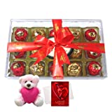 Tasty Treat Of Wrapped Chocolates With Teddy And Love Card - Chocholik Luxury Chocolates