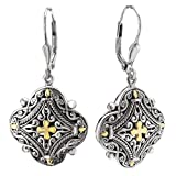 18K Yellow Gold and Sterling Silver Filigree Design Earrings