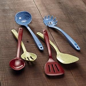 Paula Deen Signature Kitchen Tools Melamine Pasta Fork, Red Speckle