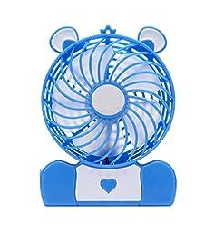Generic Mini Bear Shaped Rechargeable Battery Desk USB Fan Blue