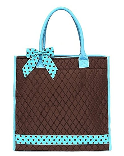 Belvah Large Quilted Solid Travel Shopper Tote Bag (Brown/Turquoise)