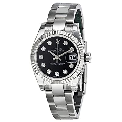 Rolex Datejust Black Diamond Dial Oyster Bracelet 18kt White Gold Bezel Ladies Watch 179174BKDO