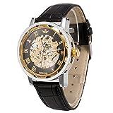 メンズ腕時計 機械式腕時計 手巻き スケルトンタイプ ウォッチ ブラック+ブラック+ゴールド