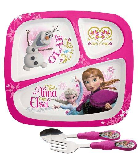 Disney Frozen Divided Plate & Fork / Spoon Flatware Set