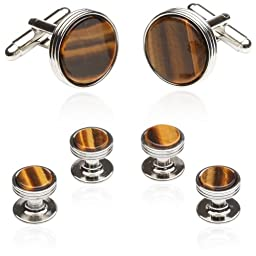 Cuff-Daddy Tigers Eye Formal Set Silver-tone
