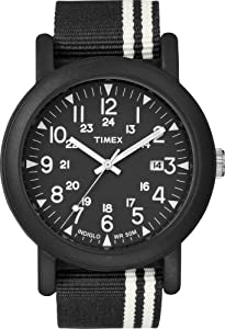Timex Men's T2N330GP Originals Oversize Camps Black Nylon Strap