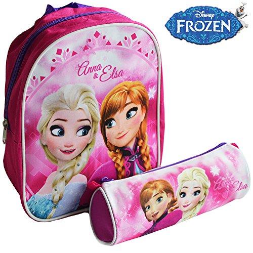 Zaino Zainetto Disney Frozen Asilo con Astuccio Tombolino Kit Frozen Anna e Elsa per Bambini Scuola