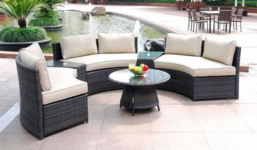 Curved 6 Seat Outdoor Wicker PE Rattan Sofa Lounger Patio Furniture Set +Table
