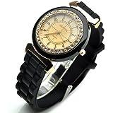 Geneva Wristwatch Platinum Women's Silicone Quartz Watch with Rhinestone Dial