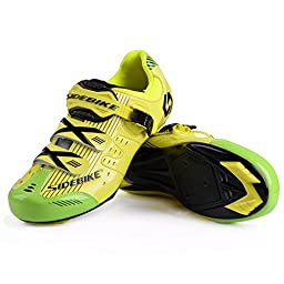Smartodoors Cycling Shoes with Carbon Soles or Nylon Tpu Soles for Road and MTB (Yellow for Road, US12/EU45/Ft28.5cm)