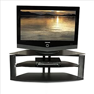 Tech-Craft Bernini Series 50 Inch Wide Corner TV Stand with Black Glass