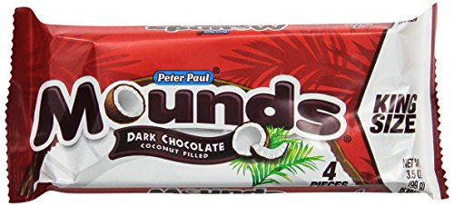 Mounds Candy Bar, Dark Chocolate Coconut Filled, 3.5-Ounce Bars (Pack of 18)