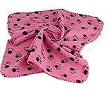 PAWSnCLUBS Pet Dog Cat Paw Prints Blanket Mat Bed (Pink)