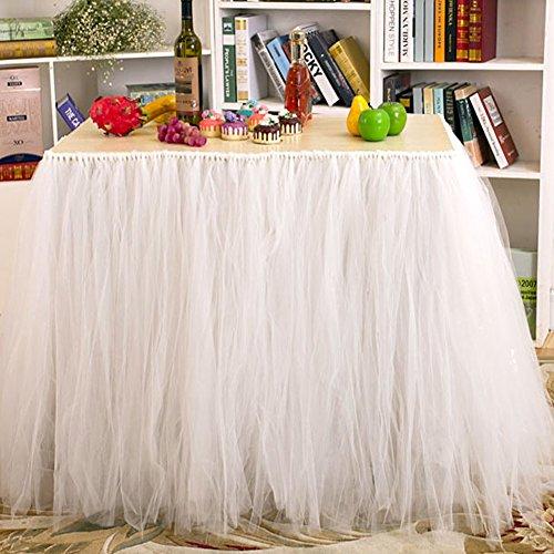 Aerwo Tutu Table Skirts Tulle Queen Snowflake Wonderland