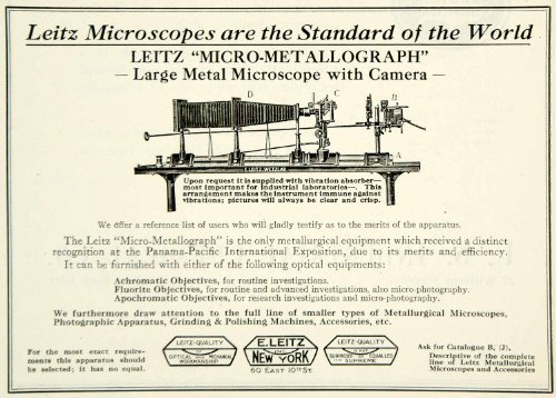 1922 Ad E Leitz Microscope Micro-Metallograph Science Laboratory Equipment Lab - Original Print Ad