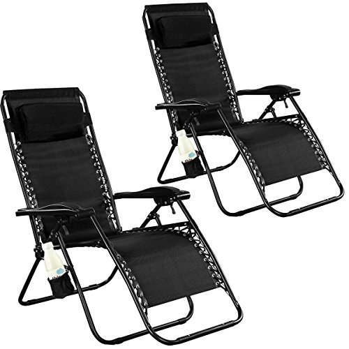 Goplus® 2PC Zero Gravity Chairs Lounge Patio Folding Recliner Outdoor Yard Beach With Cup Holder(Black)
