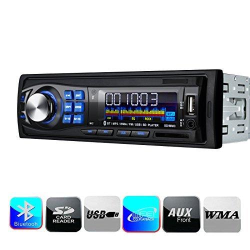 Masione® Bluetooth Auto Stereo Audio Ricevitore, Singolo Din, In Dash 12V, MP3 Radio Player Compatibile, Digital Media, FM Ricevitore con USB Porta & SD Card Slot AUX Receiver,telecomando