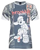 Disney Mens Mickey Brooklyn Spray T Shirt Fit Branded Printed Casual White