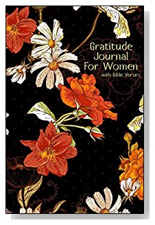 Gratitude Journal For Women - With Bible Verses. The orange and white floral design on the dark background make a beautiful cover for this 5-minute gratitude journal for the busy woman.