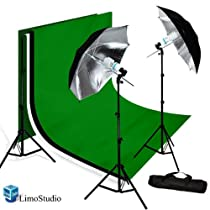 LimoStudio PHOTOGRAPHY STUDIO LIGHTING KIT BLACK UMBRELLA LIGHT MUSLIN BACKDROP WHITE BLACK GREEN BACDKROP KIT_AGG707
