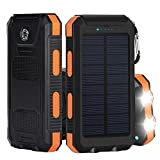 Solar Charger, iBeek® Portable 10000mAh Dual USB Solar Battery Charger External Battery Pack Phone Charger Power Bank with Flashlight Compass for Outdoors (Rainproof, Dust-proof, Shockproof) - Orange
