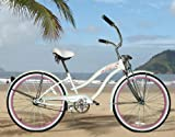 "New Micargi 26"" Ladies Bike Beach Cruiser Bicycle Rover GTS White/Pink"