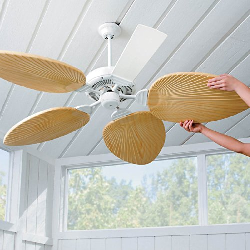 Palm-Leaf Ceiling Fan Blades-Set of 5 - Ivory - Improvements