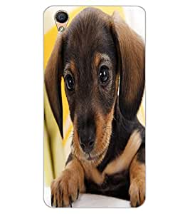 ColourCraft Cute Puppy Design Back Case Cover for OPPO F1 PLUS