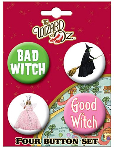 Ata-Boy Wizard of Oz Good Witch Bad Witch 4 Button Set (Wicked Good Finds compare prices)