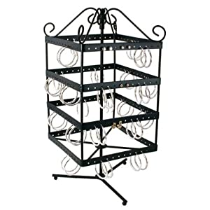 Revolving 96 Pairs Earring Display Stand Black Metal 13 1/8