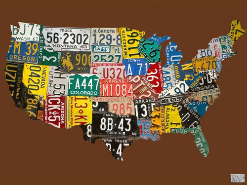 Oopsy Daisy Canvas Wall Art License Plate USA Map Chocolate by Aaron Foster, 40 by 30-Inch